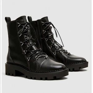 ZARA LEATHER BIKER ANKLE BOOTS WITH METAL DETAILS